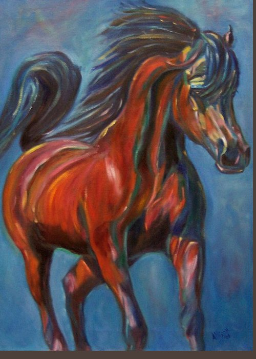 Horse Greeting Card featuring the painting Windstalker by Stephanie Allison