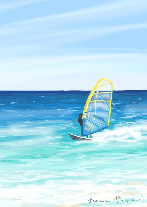 Windsurf Greeting Card featuring the painting Windsurf by Veronica Minozzi