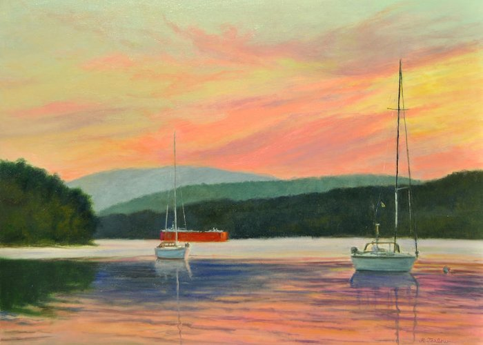 Oil Painting Greeting Card featuring the painting Windswept Sky Hudson Highlands by Phyllis Tarlow