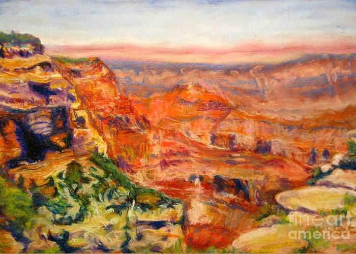 Landscape Greeting Card featuring the pastel Windy Afternoon Below Cape Royal by Katrina West