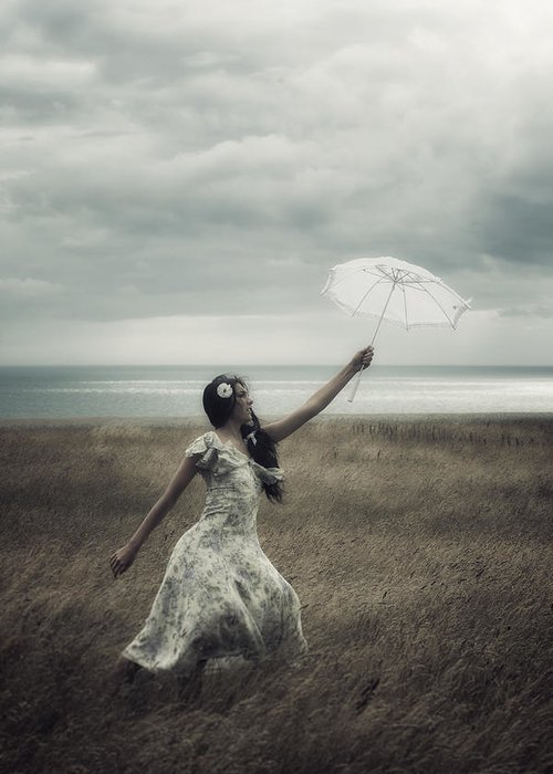Girl Greeting Card featuring the photograph Windy by Joana Kruse