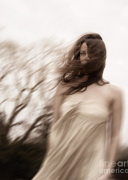 Caucasian; Woman; Lady; Female; Outside; Outdoors; Storm; Stormy; Wind; Windy; Blur; Blurred; Blurry; Horror; Scary; Mysterious; Mystery; Foreboding; Hair; Long Hair; Brunette; Dress; Gold; Strapless; Haunted; Scared; Terror; Trees; Autumn; Spring; Branches Greeting Card featuring the photograph Windy by Margie Hurwich
