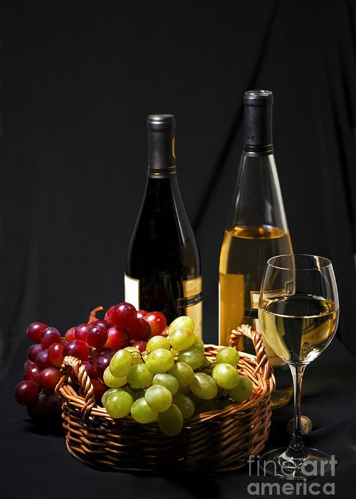 Wine Greeting Card featuring the photograph Wine And Grapes by Elena Elisseeva