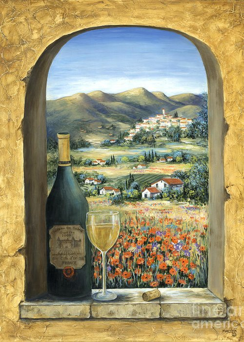 Wine Greeting Card featuring the painting Wine And Poppies by Marilyn Dunlap