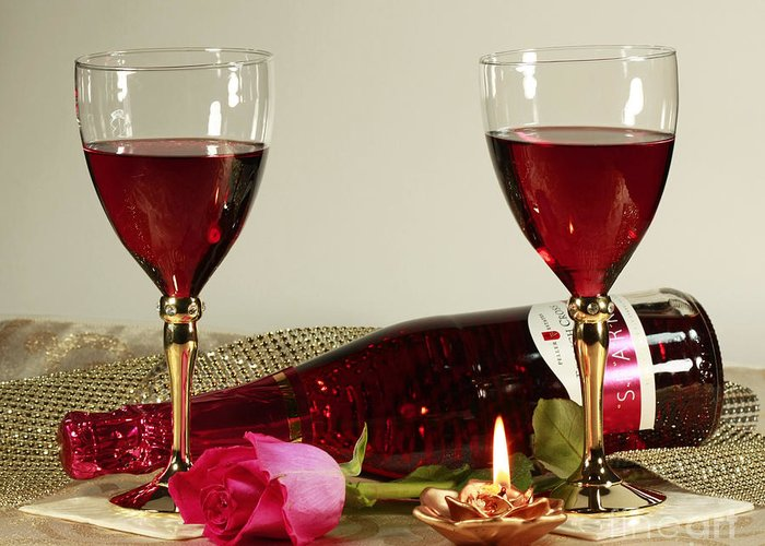 Wine And Rose By Candlelight Is Greeting Card featuring the photograph Wine And Rose By Candlelight by Inspired Nature Photography Fine Art Photography