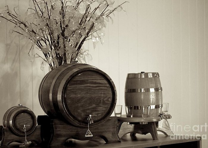 Wine Service Greeting Card featuring the photograph Wine Barrels by Alanna DPhoto