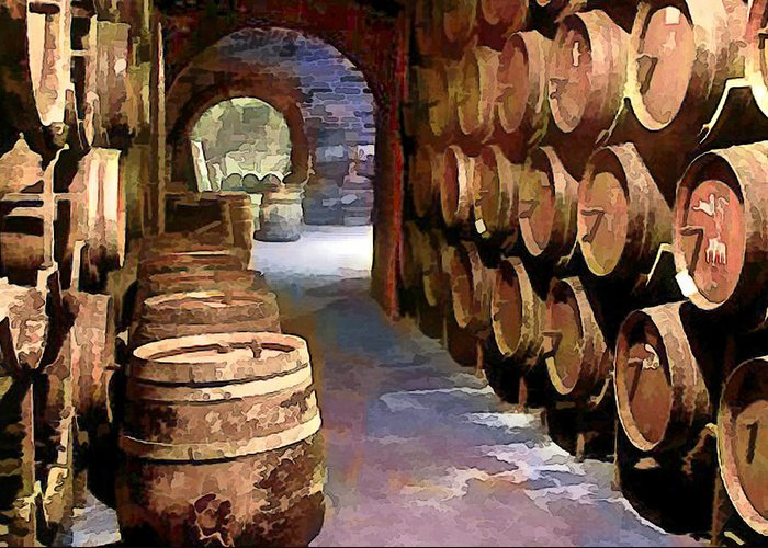Wine Greeting Card featuring the painting Wine Barrels In The Wine Cellar by Elaine Plesser