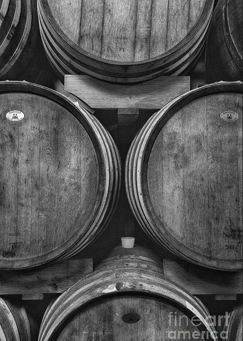 Michele Greeting Card featuring the photograph Wine Barrels Monochrome by Michele Steffey