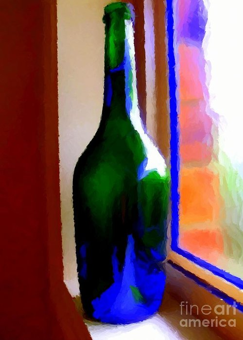 Bottle Greeting Card featuring the digital art Wine Bottle by Chris Butler