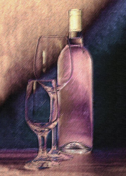 Wine Greeting Card featuring the photograph Wine Bottle With Glasses by Tom Mc Nemar