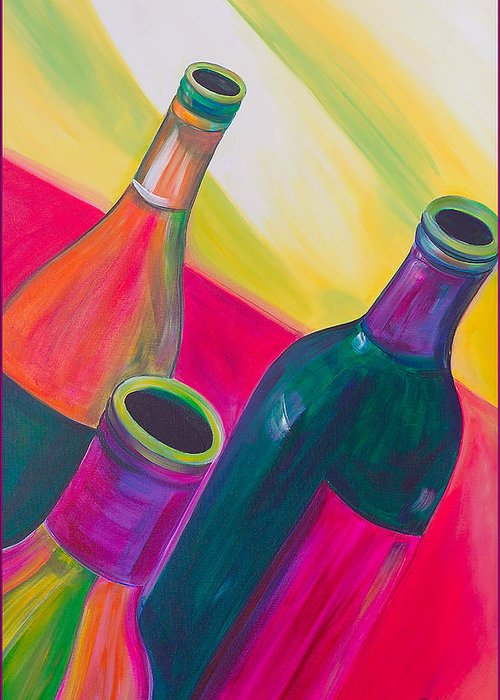 Wine Greeting Card featuring the painting Wine Bottles by Debi Starr