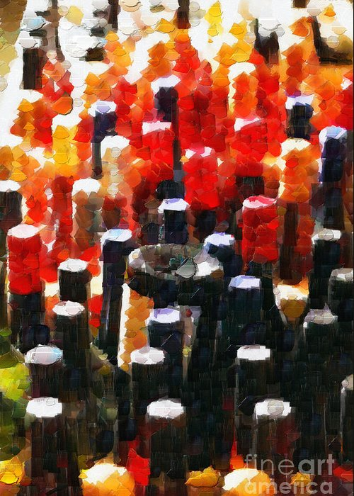 Objects Greeting Card featuring the digital art Wine Bottles In Cases Painting by Magomed Magomedagaev