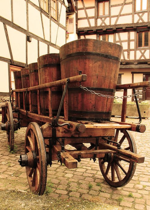 Wine Cart Greeting Card featuring the photograph Wine Cart In Alsace France by Greg Matchick