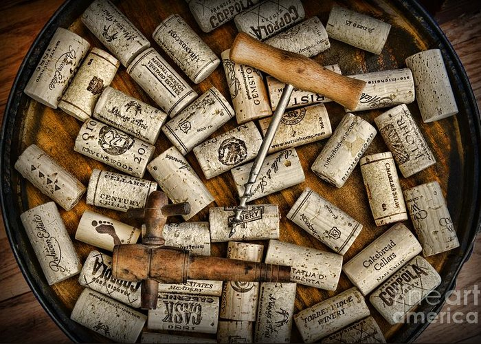 Wine Greeting Card featuring the photograph Wine Corks On A Wooden Barrel by Paul Ward