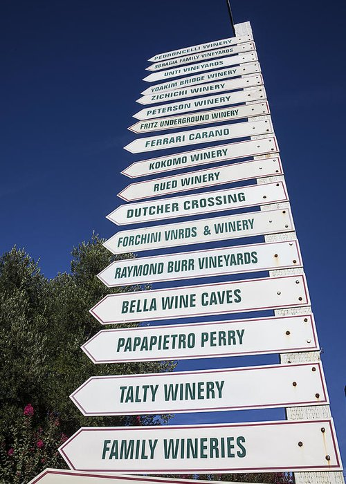 Wine Greeting Card featuring the photograph Wine Country Signs by Garry Gay