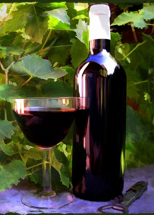 Wine Greeting Card featuring the painting Wine In The Sunset by Elaine Plesser