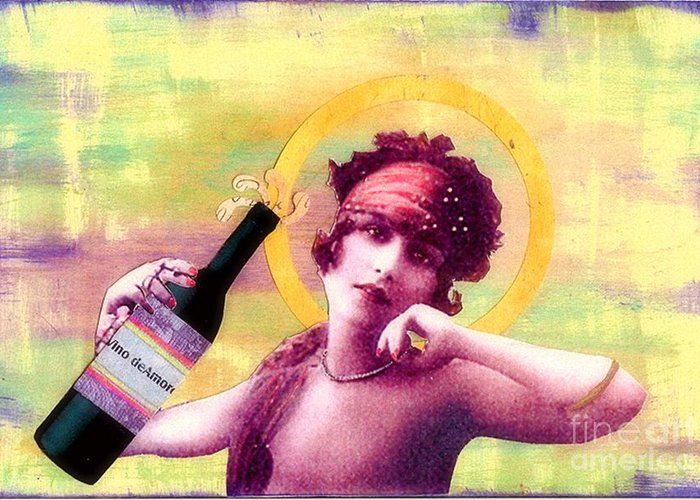 Vintage Greeting Card featuring the painting Wine Of Love by Desiree Paquette