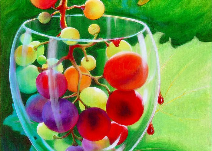 Clusters Of Grapes Paintings Greeting Cards