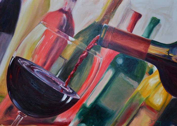 Wine Greeting Card featuring the painting Wine Pour IIi by Donna Tuten