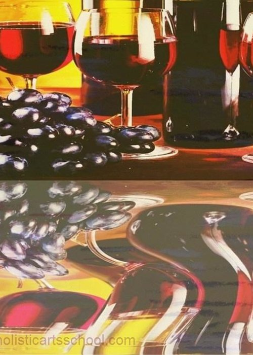Wine Greeting Card featuring the painting Wine Reflections by PainterArtist FIN