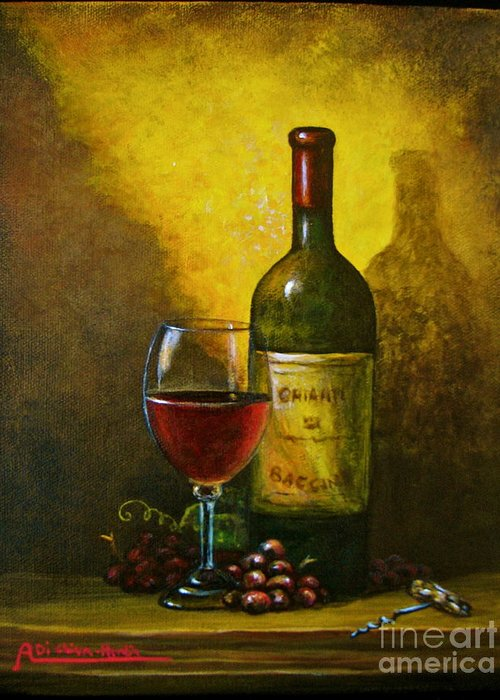 Angelica Dichiara Greeting Card featuring the painting Wine Shadow Ombra Di Vino by Italian Art