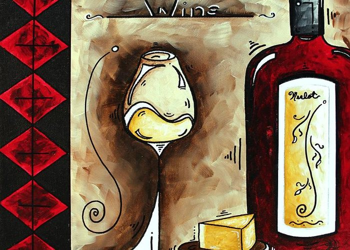 Art Greeting Card featuring the painting Wine Tasting Original Madart Painting by Megan Duncanson
