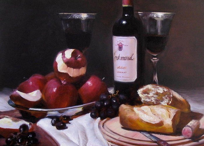 Wine Greeting Card featuring the painting Wine With Peeled Apples by Takayuki Harada