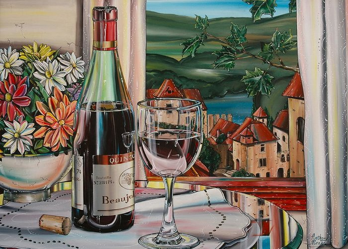 Landscape Greeting Card featuring the painting Wine With River View by Anthony Mezza