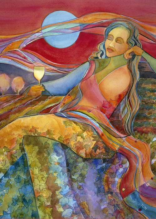 Jen Norton Greeting Card featuring the painting Wine Woman And Song by Jen Norton