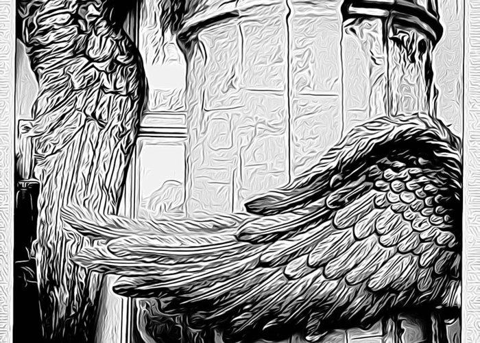 Angel Greeting Card featuring the digital art Wing It Bw by Jen Brooks Art