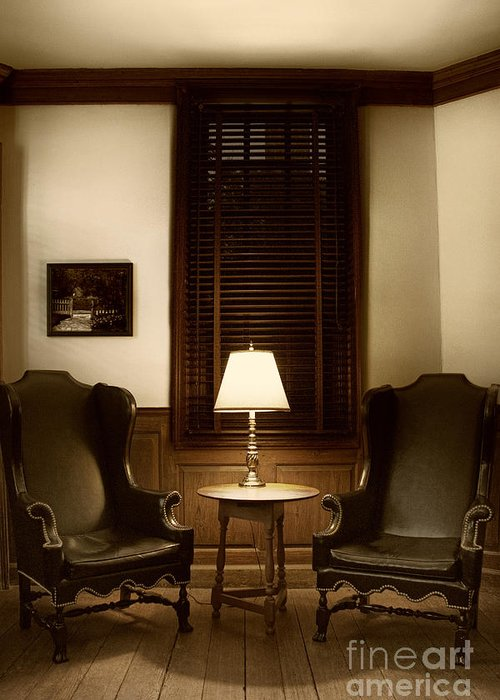Chair; Inside; Seat; Indoors; Empty; Wing Back; Leather; Black; Brown; Two; Soft; Interior; Still Life; House; Home; Wood; Wooden; Lamp; Table; Window; Blinds; Shutters; No One; Picture; Frame; Hanging; Floor Greeting Card featuring the photograph Wingbacks by Margie Hurwich