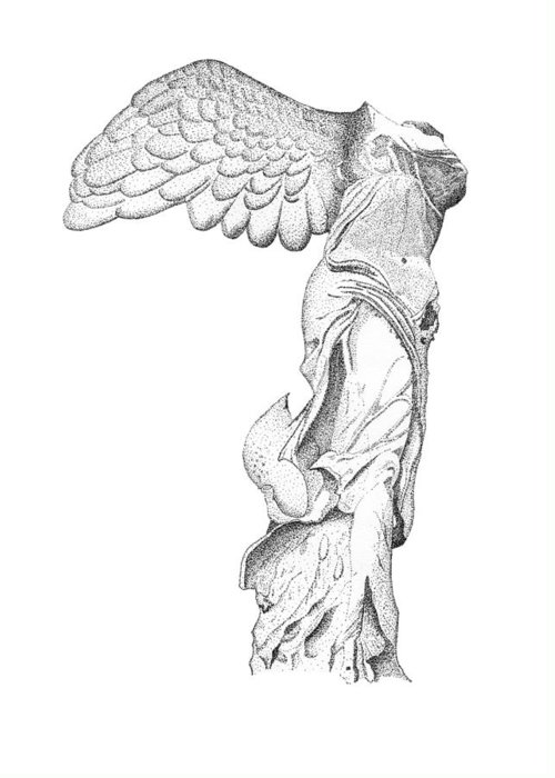 Winged Victory Of Samothrace Greeting Card featuring the drawing Winged Victory Of Samothrace by Steven Tomadakis