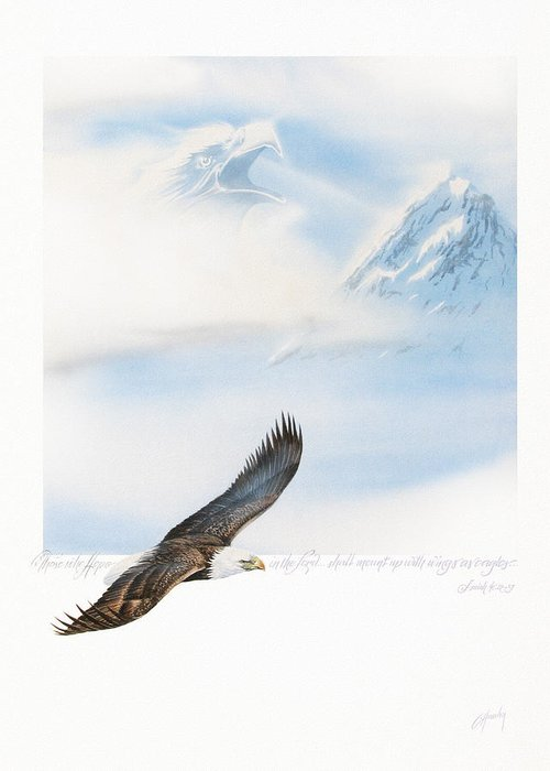 Eagle Greeting Card featuring the painting Wings As Eagles by Cliff Hawley