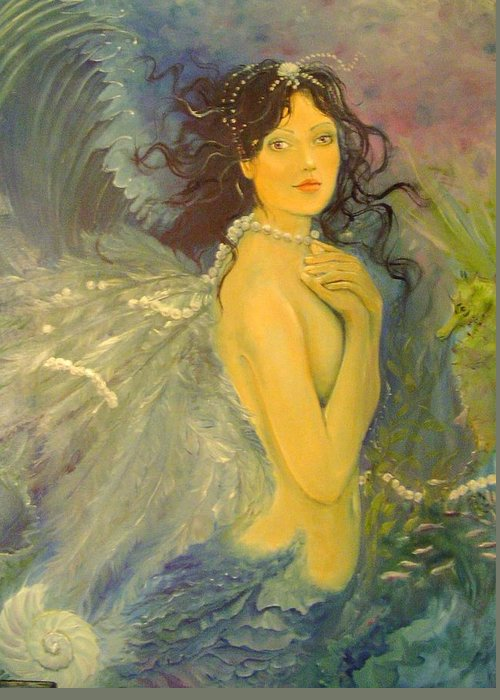 Mermaid Greeting Card featuring the painting Wings by Victoria Maine