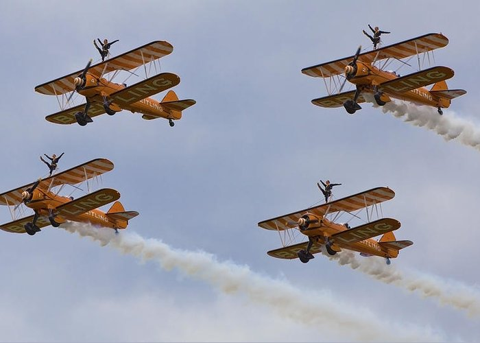 Wingwalkers Greeting Card featuring the photograph Wingwalkers Perfect Sync by Maj Seda