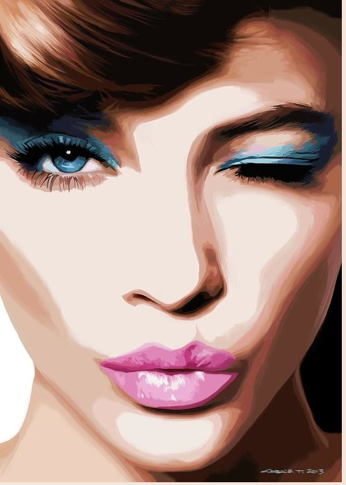 Amazing Girl Greeting Card featuring the digital art Wink - Pretty Faces Series by Gabriel T Toro