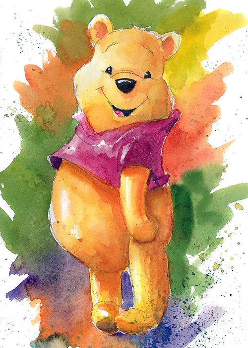 Winnie the pooh greeting card for sale by andrew fling winnie the pooh greeting card featuring the painting winnie the pooh by andrew fling m4hsunfo
