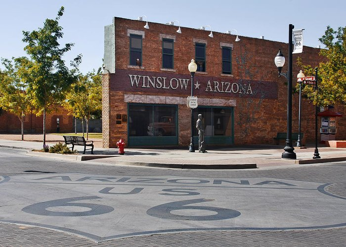 Famous Greeting Card featuring the photograph Winslow Arizona - Such A Fine Sight To See by Christine Till