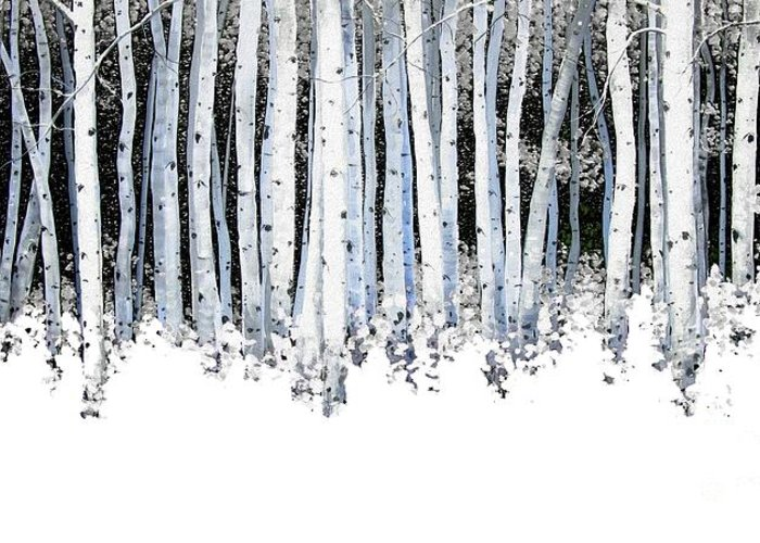 Aspens Greeting Card featuring the painting Winter Aspens by Michael Swanson