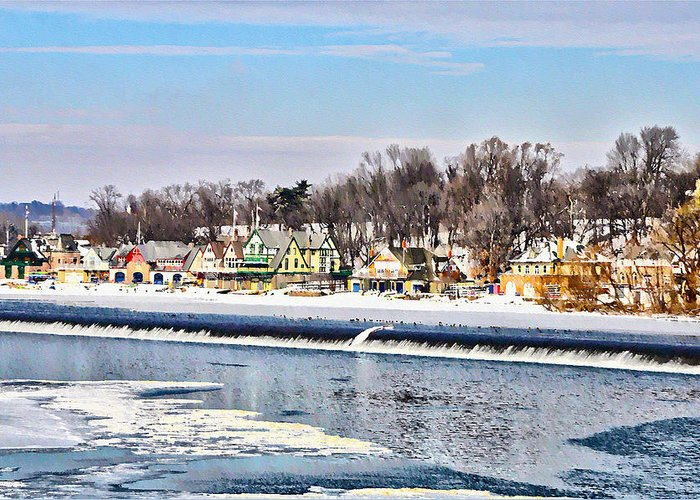 Winter At Boathouse Row In Philadelphia Greeting Card featuring the photograph Winter At Boathouse Row In Philadelphia by Bill Cannon