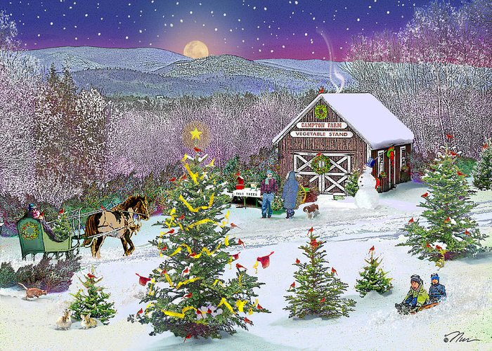 Winter Greeting Card featuring the digital art Winter At Campton Farm by Nancy Griswold