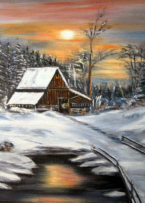 Landscape Greeting Card featuring the painting Winter Barn by Kenneth LePoidevin