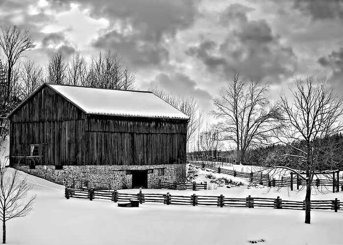 Barn Greeting Card featuring the photograph Winter Barn Monochrome by Steve Harrington