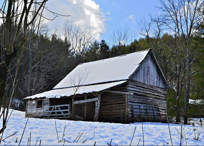 Greeting Card featuring the photograph Winter Barn by Susan Leggett