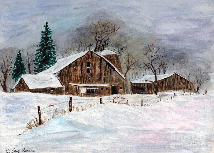 Barn Greeting Card featuring the painting Winter Barns by Carol Komassa