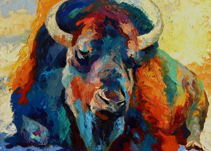 Wildlife Greeting Card featuring the painting Winter Bison by Marion Rose