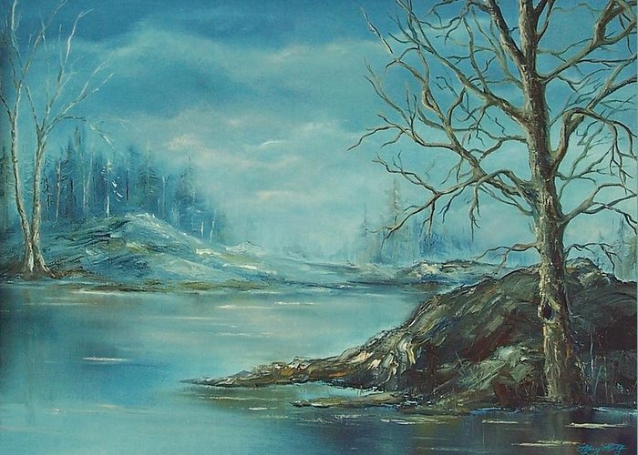Landscape Greeting Card featuring the painting Winter Blue by Mary Wolf