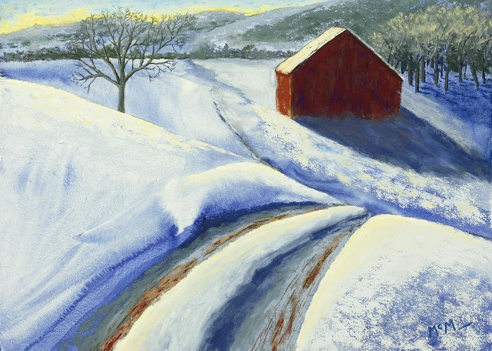 Red Barn Greeting Card featuring the painting Winter Blues by Garry McMichael