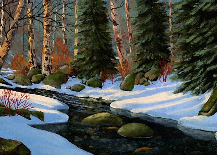 Landscape Greeting Card featuring the painting Winter Brook by Frank Wilson