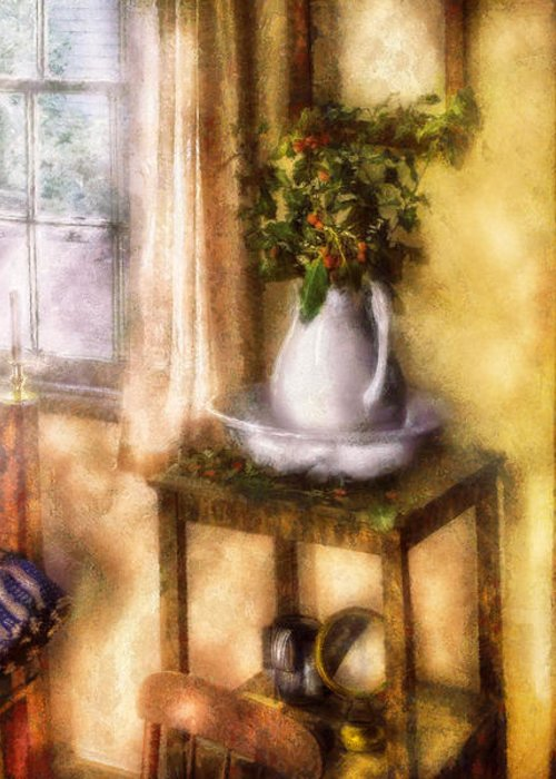 Savad Greeting Card featuring the digital art Winter - Christmas - Early Christmas Morning by Mike Savad